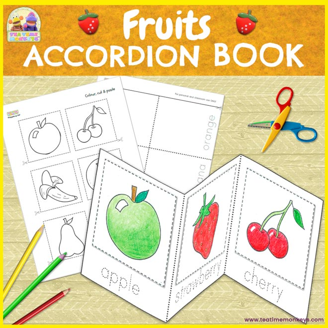Fruits Accordion Book - Cut & Paste Printable