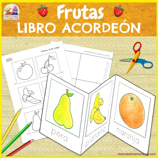 Frutas libro acordeón imprimible - Tea Time Monkeys