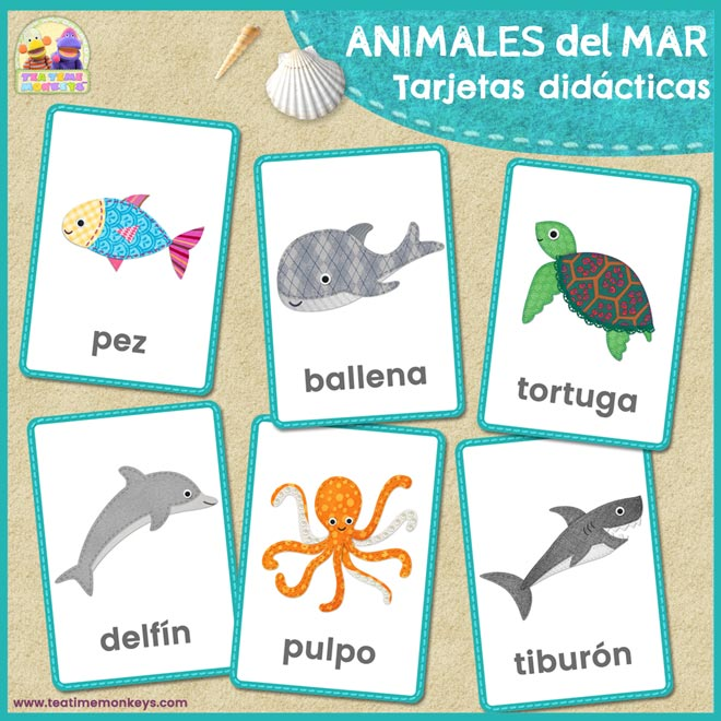 Animales del Mar - tarjetas Didácticas - Tea Time Monkeys
