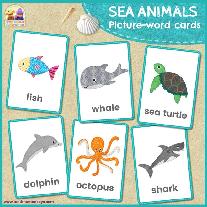 Sea Animals Flashcards - Tea Time Monkeys