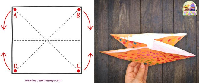 Easy origami paper crab step 2 - Tea Time Monkeys