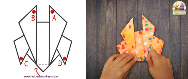 Easy origami paper crab step 8 - Tea Time Monkeys