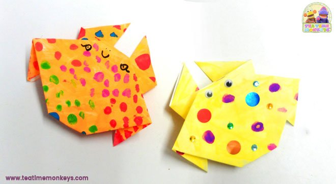 Paper Crab Craft - Easy Origami - Tea Time Monkeys