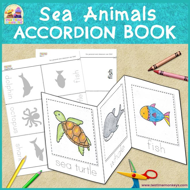 Sea Animals Accordion Book - Cut & Paste
