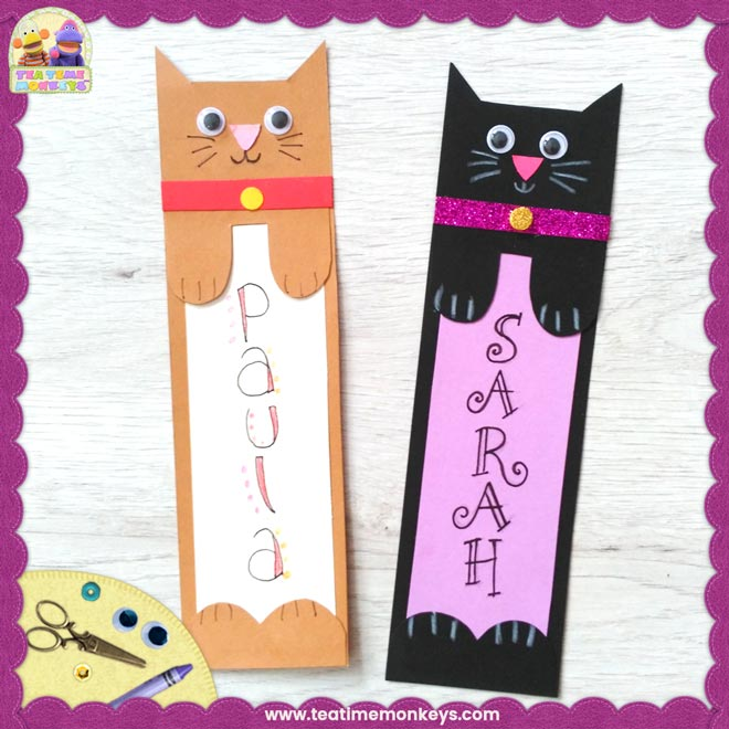 Cat Bookmark Craft - Tea Time Monkeys
