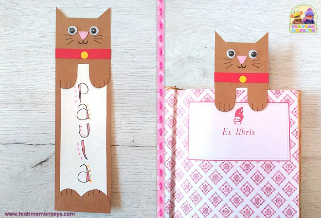 Cat Bookmark Craft - step 3- Tea Time Monkeys