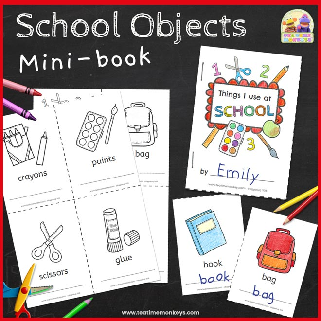 School Objects Mini Book - Printable - Tea Time Monkeys