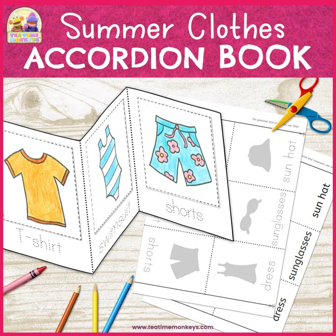 Summer Clothes Accordion Book - Cut & Paste Minibook - Tea Time Monkeys