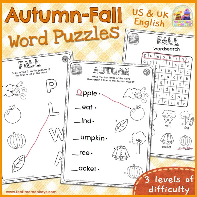 Autumn - Fall Word Puzzles - Free Printable - Tea Time Monkeys