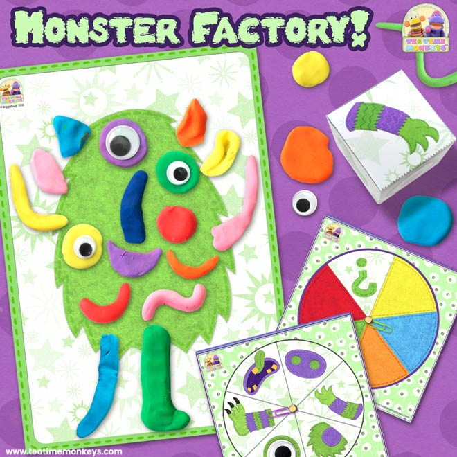 Monster Factory - Build A Monster Dice / Spinner Game - Tea Time Monkeys