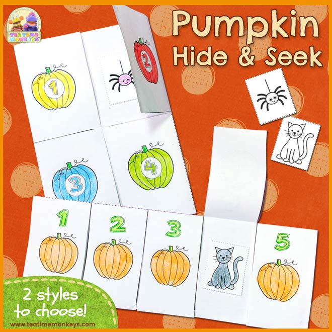 Pumpkin Hide and Seek Printable - Tea Time Monkeys