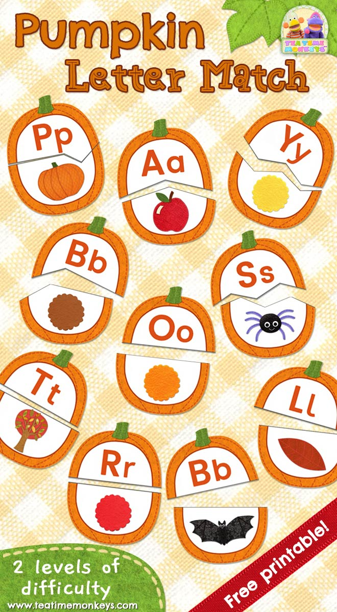 image relating to Printable Match Game referred to as Pumpkin Puzzle - Starting Letter Appears Matching Match - Tea