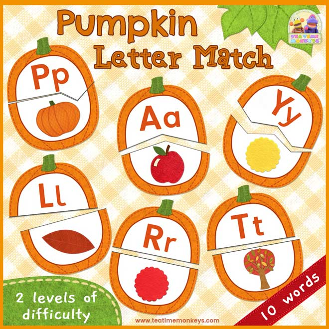 Pumpkin Beginning Letter Sounds Matching Game - Free Printable - Tea Time Monkeys