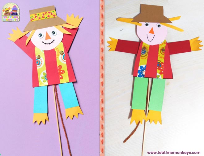Puppet Scarecrow Craft - Step 10 - Tea Time Monkeys