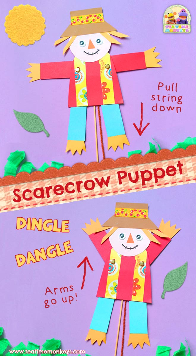 Puppet Scarecrow Craft - Free Template - Tea Time Monkeys
