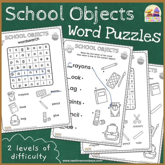 School Objects Word Puzzles Printable