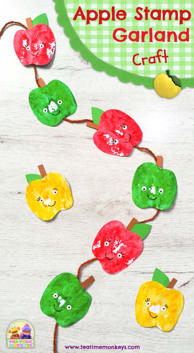 Apple Stamp Garland Craft - Tea Time Monkeys