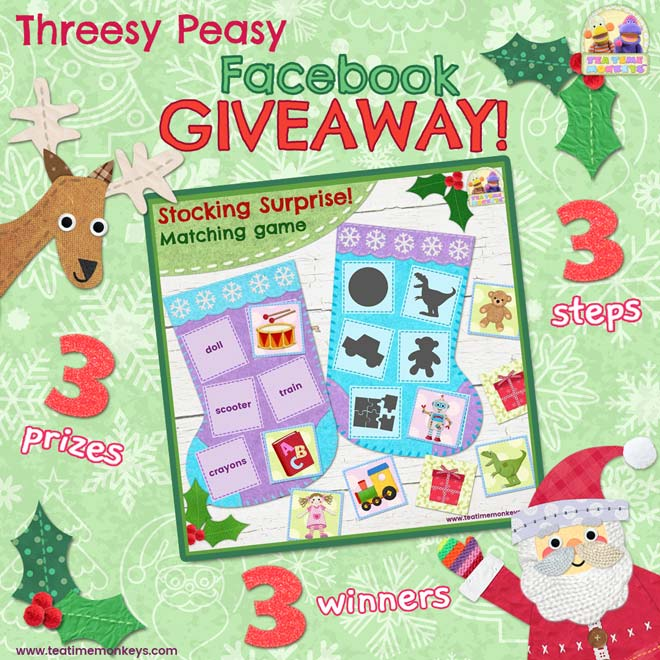 Threesy Peasy Giveaway - Christmas -Tea Time Monkeys