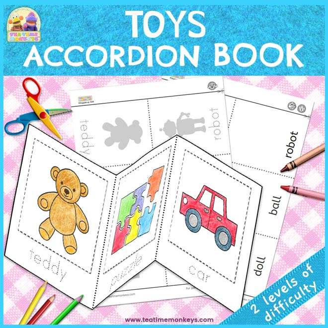 Toys Mini Book – Cut & Paste Accordion Book