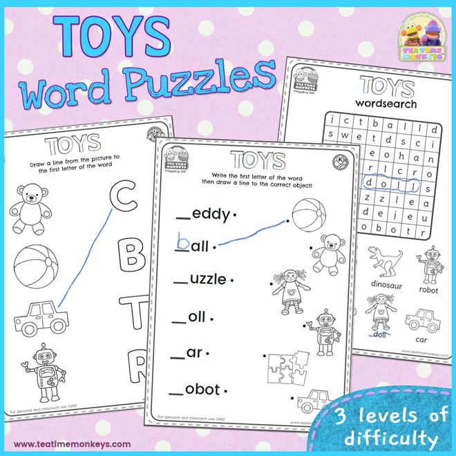 Toys word search and word puzzles - Free Printable - Tea Time Monkeys