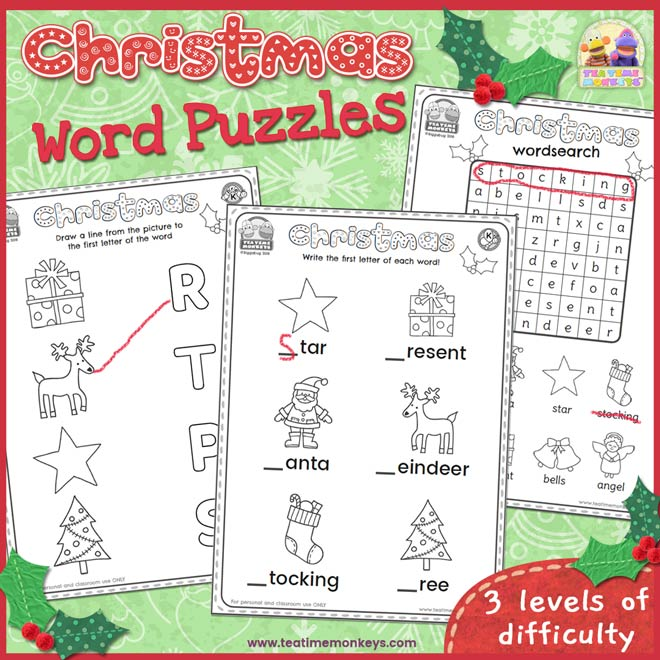 Christmas Word Puzzles - Free Printable - Tea Time Monkeys