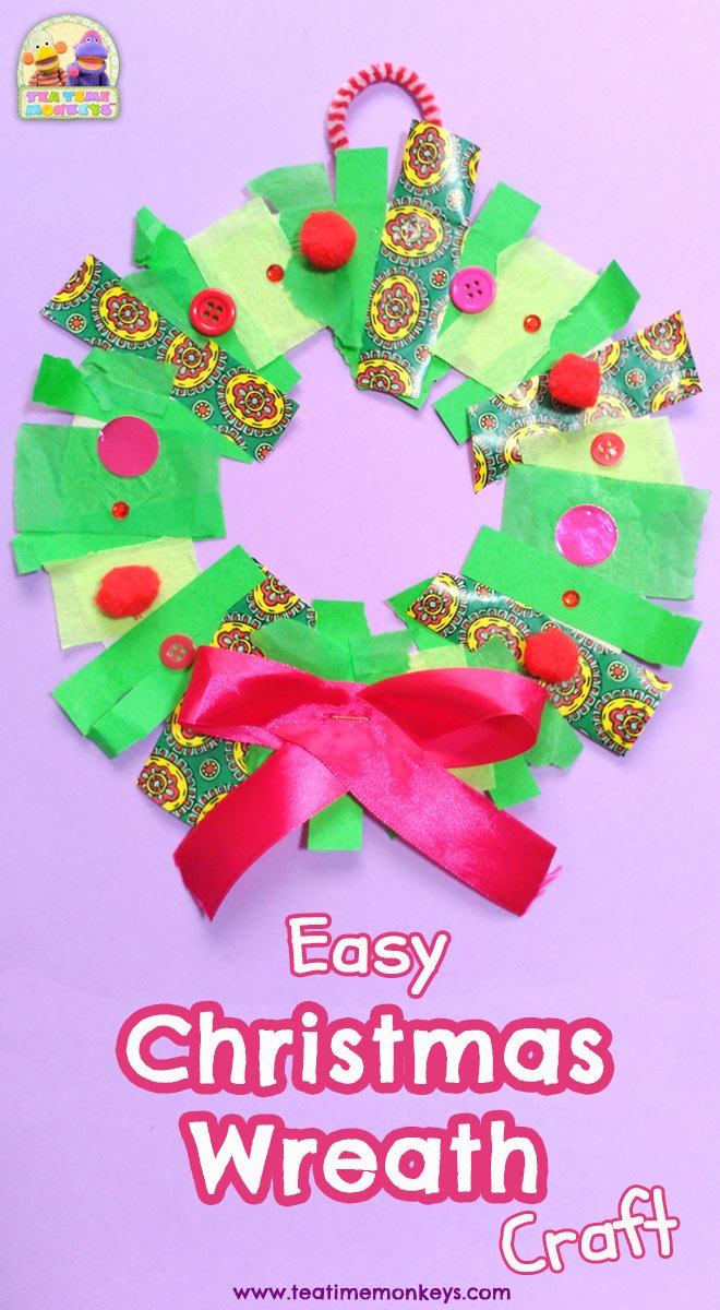 Easy Christmas Wreath Craft for Preschoolers & Kindergartners - Tea Time Monkeys