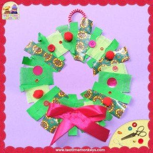 Easy Christmas Wreath Craft for Preschoolers - Tea Time Monkeys