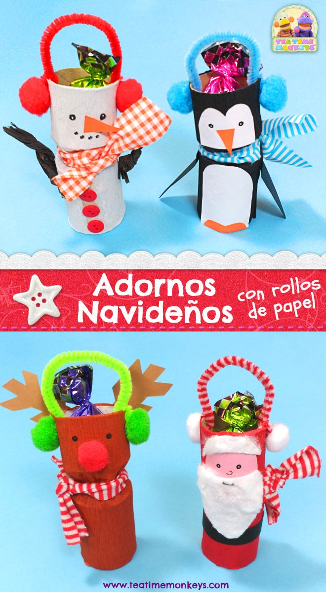 Adornos Navideños - Manualidad con Rollos de Papel - Tea Time Monkeys