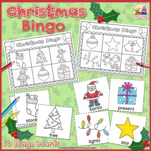 Christmas Bingo Game - free Printable - Tea Time Monkeys