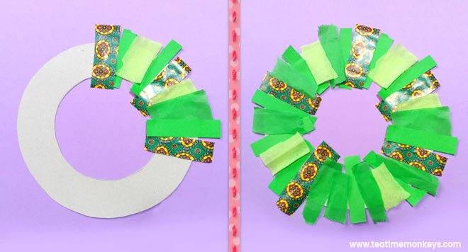 Easy Christmas Wreath Craft for Preschoolers - Step 3 - Tea Time Monkeys