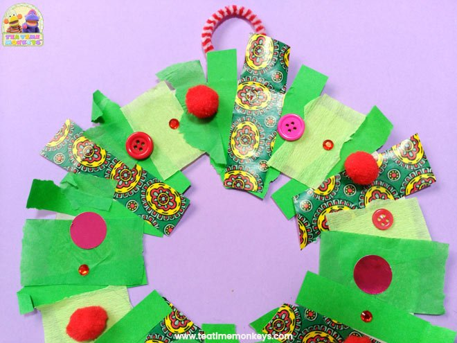 Easy Christmas Wreath Craft for Preschoolers - Step 7 - Tea Time Monkeys
