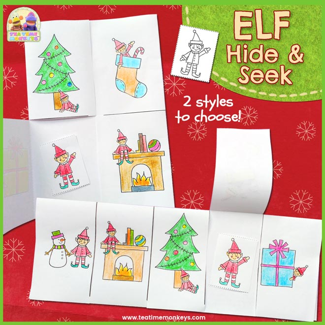 Hide and Seek Elf on the Shelf Printable - Tea Time Monkeys