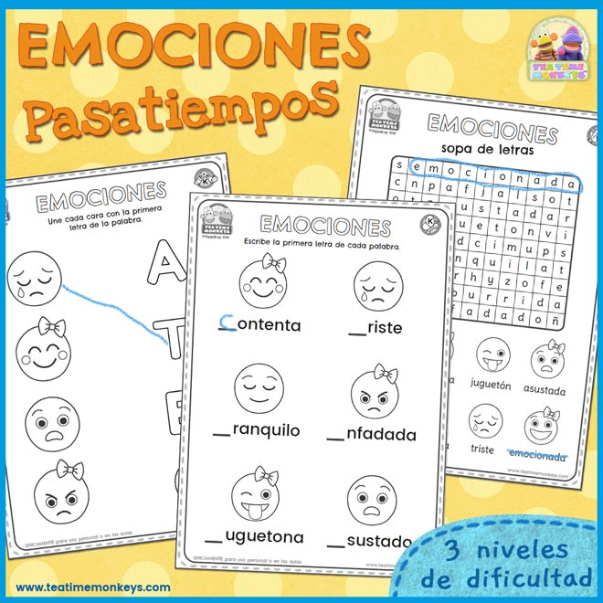Pasatiempos de las emociones - Imprimible Gratis - Tea Time Monkeys