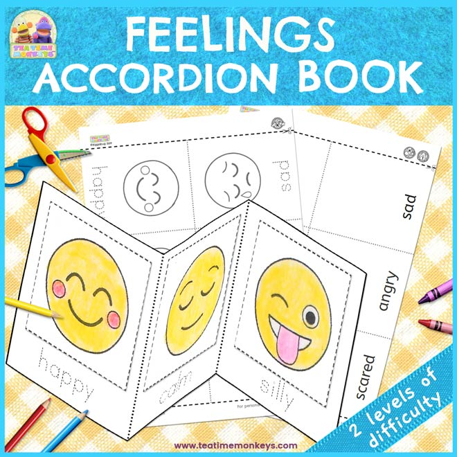 Feelings Accordion Book - Free Emotions Printable - Tea Time Monkeys