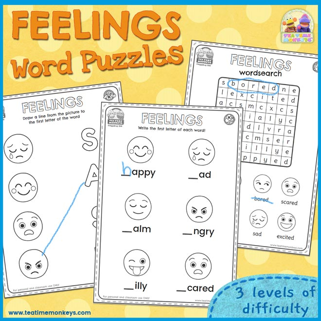 Feelings Word Puzzles - Free Printable - Tea Time Monkeys