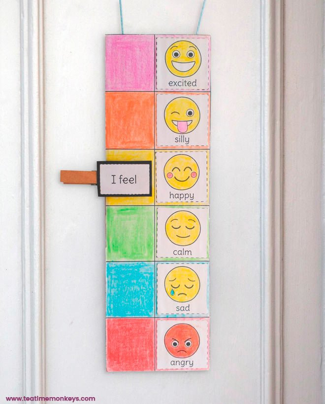 "For the clip, children cut out the ""I feel"" tag and stick it to a piece of card. Attach the card to a wooden clothes pin with a piece of double-sided sticky tape."
