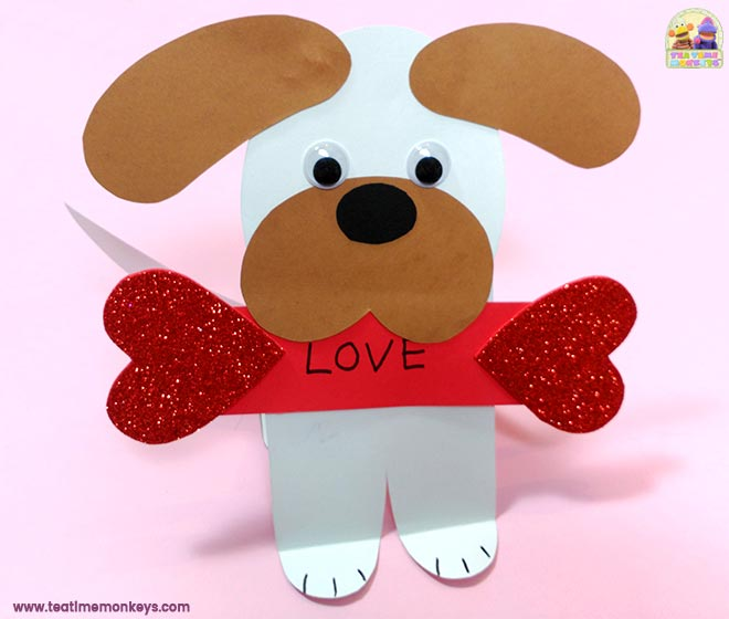 Puppy Love - Easy Valentine Craft - Step 7 - Tea Time Monkeys
