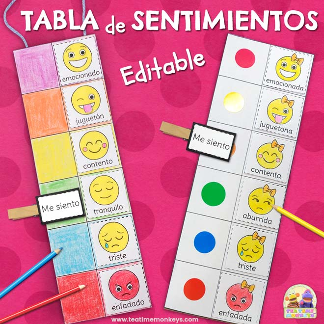 Tabla de Sentimientos - Imprimible Gratis - Tea Time Monkeys