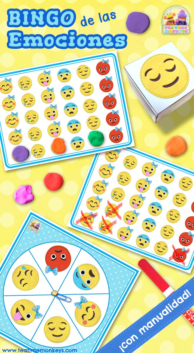 Bingo de las Emociones - Bingo Editable con Dado y Ruleta - Tea Time Monkeys