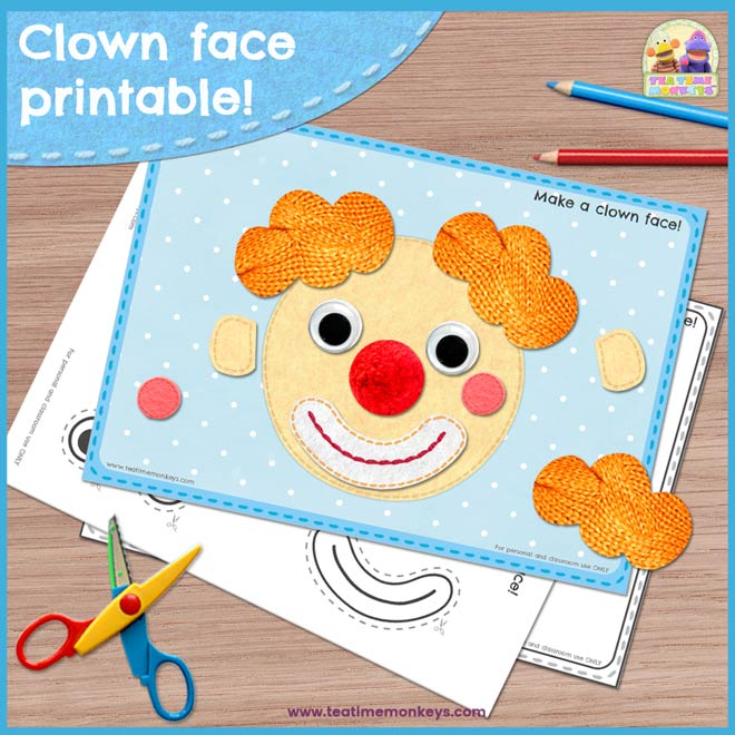 Clown Face Printable - Tea Time Monkeys