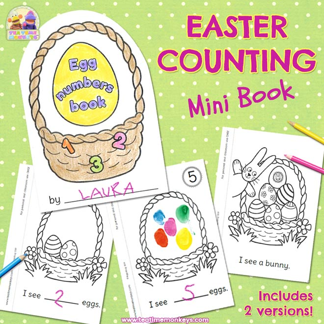 photo relating to Printable Eggs identified as Easter Counting Printable - Egg Figures Mini E-book - Tea Season