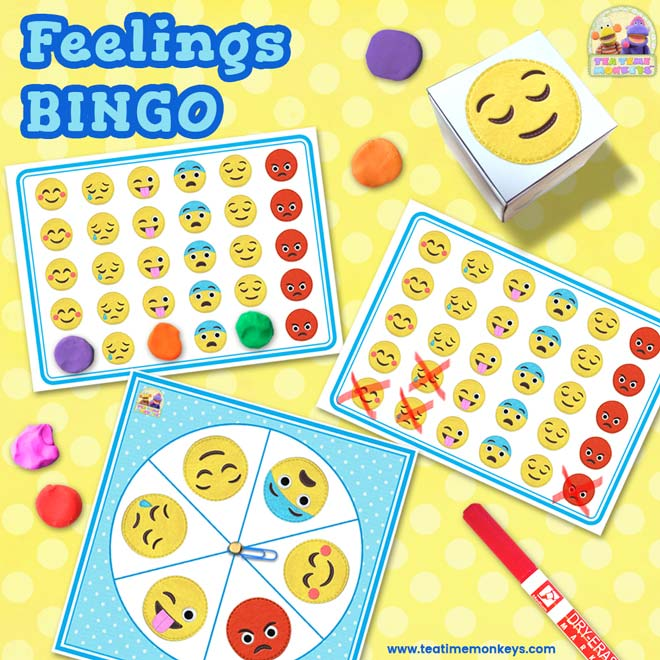 FEELINGS BINGO - An EDITABLE Dice / Spinner Game with Craftivity