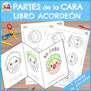Partes de la Cara Libro Acordeón - imprimible Gratis - Tea Time Monkeys
