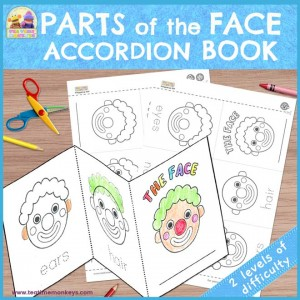 Parts of the Face Accordion Book - Free Printable - Tea Time Monkeys