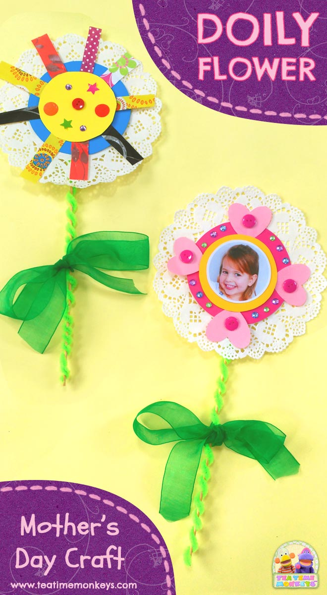 Pretty Doily Flower - Mother's Day Craft - Tea Time Monkeys