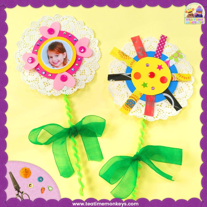 Pretty Doily Flower – Easy Mother's Day Craft