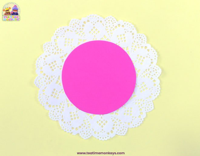 Pretty Doily Flower - Mother's Day Craft - Step 2 - Tea Time Monkeys