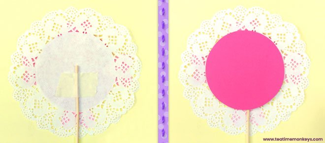 Pretty Doily Flower - Mother's Day Craft - Step 5 - Tea Time Monkeys