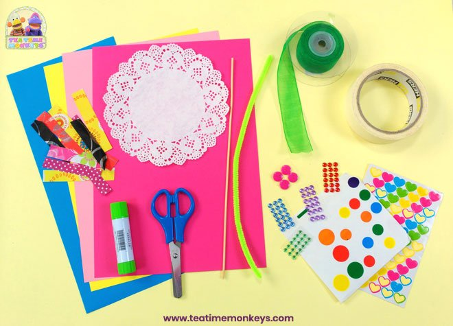 Pretty Doily Flower - Mother's Day Craft - Supplies - Tea Time Monkeys