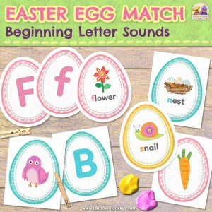 Easter Egg Match: Beginning Letter Sounds - Tea Time Monkeys